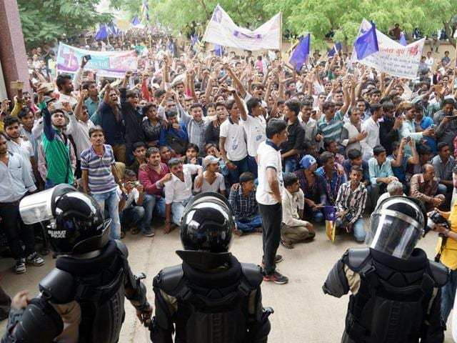 Dalits hold a protest rally against the Una incident, in Bhuj, Gujarat.(PTI Photo)