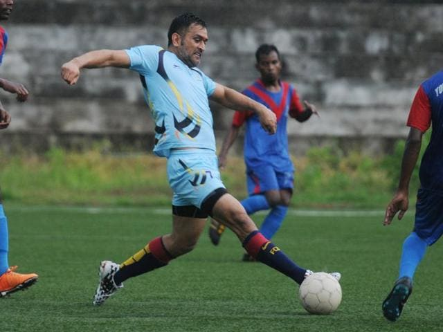 Indian Cricket team skipper M S Dhoni playing with Silli Sports Academy against Ranchi XI.