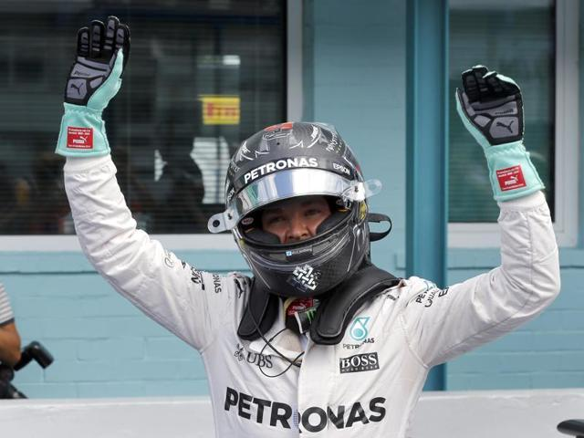 Mercedes driver Nico Rosberg of Germany celebrates after the Formula One qualifying in Hockenheim.