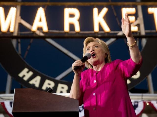 Democratic presidential candidate Hillary Clinton speaks during a rally at Broad Street Market in Harrisburg, Pa.