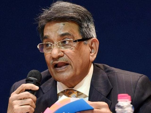 Justice (retd.) R M Lodha addressing a press conference after tabling the committee's report in New Delhi.