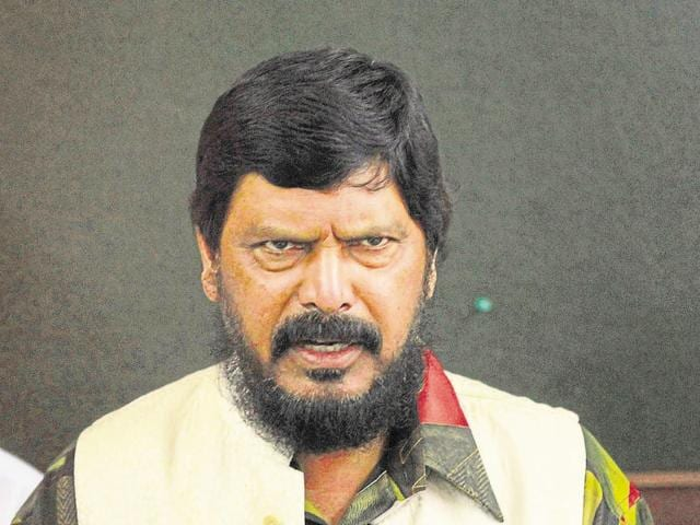 Ramdas Athawale addresses the media in a press conference in Mumbai.
