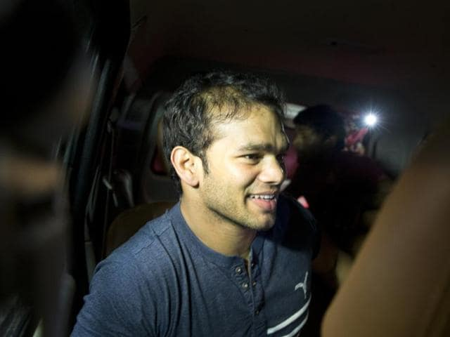 Wrestler Narsingh Yadav leaves after a hearing at the National Anti-Doping Agency (NADA) in New Delhi, India, Wednesday, July 27, 2016.