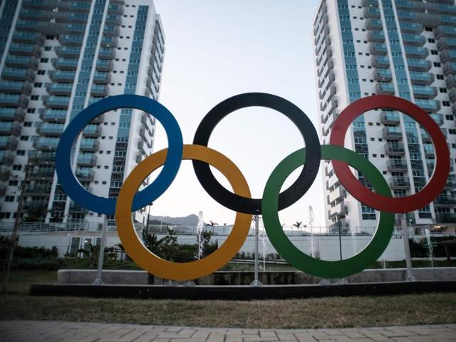 Banners of Australia are displayed at the apartments for the Australian Olympic team during the opening ceremony of the Olympic Village in Rio de Janeiro.