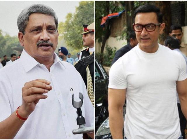 A combination photo of defence minister Manohar Parrikar  and Bollywood star Aamir Khan.
