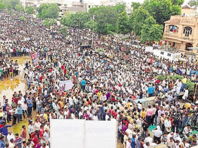 Members of the Dalit community participate in a protest rally in Ahmedabad.