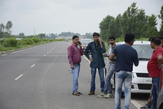 People near the crime scene were a family was robbed and the women raped on the highway to Bulandshahr last week. A young woman onTuesday claimed  she gangraped in the same area.