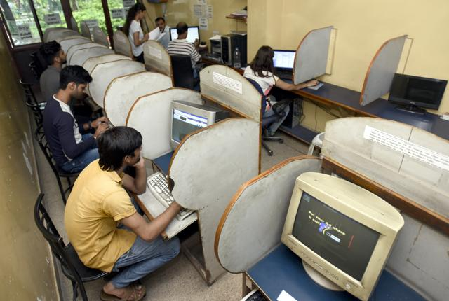 The Fire Fox Internet Cafe at Naveen Shahdara in New Delhi. Twenty years ago, cyber cafes were the gateways to the World Wide Web. In today's smartphone era, they are becoming a forgotten space.