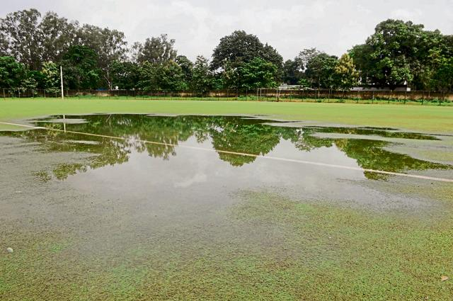 The turf, which was installed at cost of Rs 3 crore, is now water-logged and resembles a pond.
