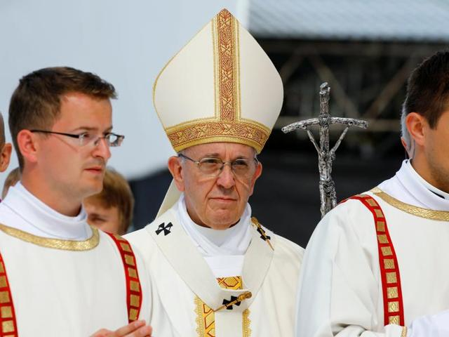 Pope Francis arrives to lead a mass at the Campus Misericordiae during World Youth Day in Brzegi near Krakow, Poland on Sunday.