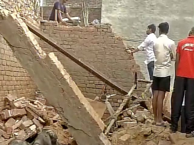 The roof a flat caved in, burying three family members in a first-floor apartment in Uttam Nagar, west Delhi.