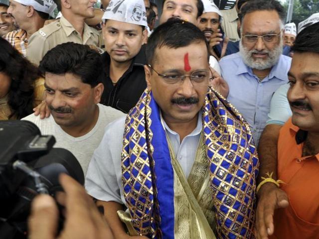 Delhi CM Arvind Kejriwal at Gaggal Airport in Kangra on Monday.