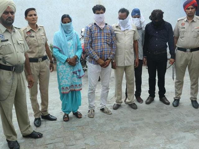 Police presenting the accused before the media at Sultanpur Lodhi in Kapurthala district on Sunday.