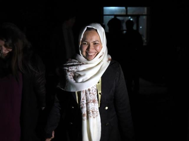 This photograph taken on May 10, 2016 shows Afghan Hazara tribe female governor of Daikundi province Masooma Muradi smiling after an interview with an AFP reporter at her residence in Nili, capital of Daikundi province.