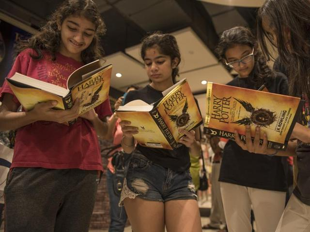 Fans gather at a Pedder Road book store for the launch of Harry Potter and the Cursed Child on Sunday.