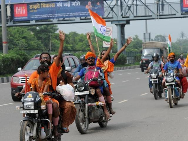 The 'dak kanwarias' run a relay race where one pilgrim completes a fixed distance and then hands over the pot containing water from river Ganga to another member of the same group also hit the roads, including NH-8, in large numbers.