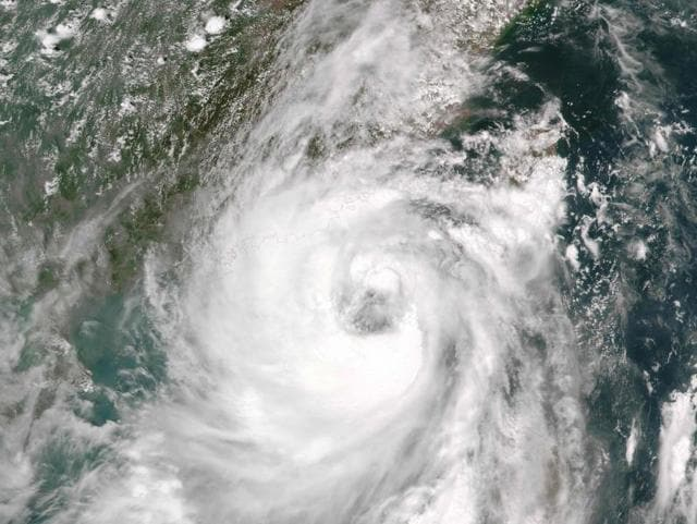 This August 1, 2016 NASA satellite image shows Typhoon Nida approaching China.