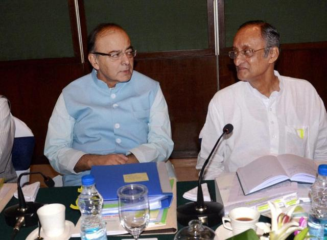 Union finance minister Arun Jaitley, with West Bengal finance minister Amit Mitra , briefing the media on GST, in Kolkata.