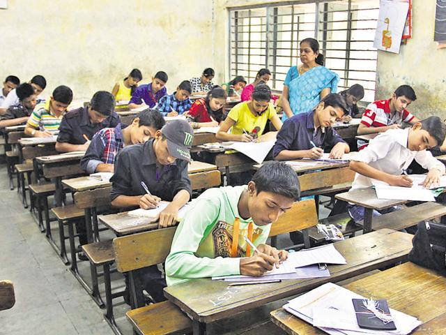 Students appearing for their state board examination.  Delhi police say at least 70% of the missing children cases are of those who have runaway from homes due to low marks.