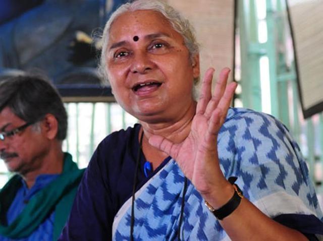 Green activist Medha Patkar addresses a press conference in Bhopal.(Mujeeb Faruqui/HT File Photo)