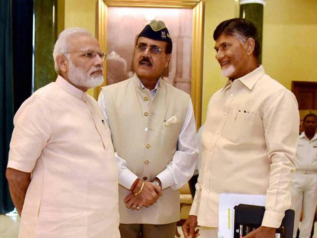 Prime Minister Narendra Modi with Andhra Pradesh chief minister Chandra Babu Naidu in New Delhi.