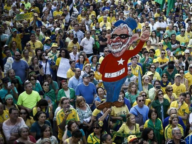 Activists protest against suspended president Dilma Rousseff in Sao Paulo, Brazil.