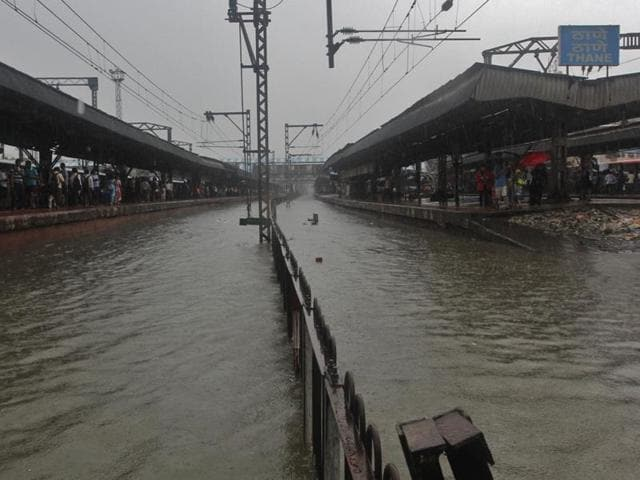 Tracks at Thane station under water.