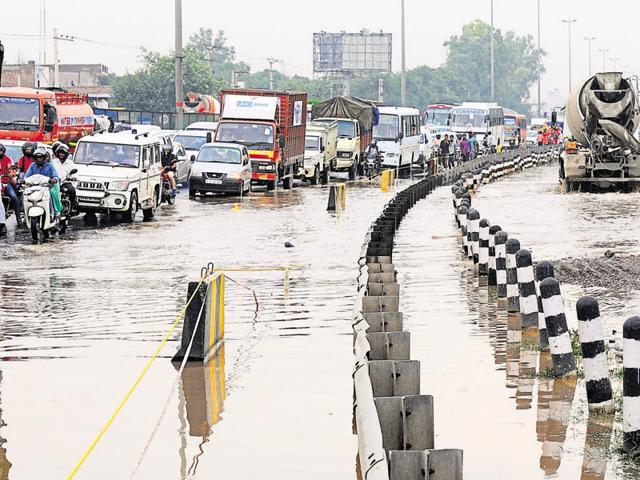 A jam on the waterlogged Delhi-Gurgaon Expressway. The rain on Thursday exposed Gurgaon's lack of preparedness for the monsoon.