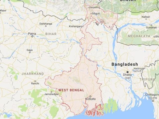 A map of the eastern state West Bengal.