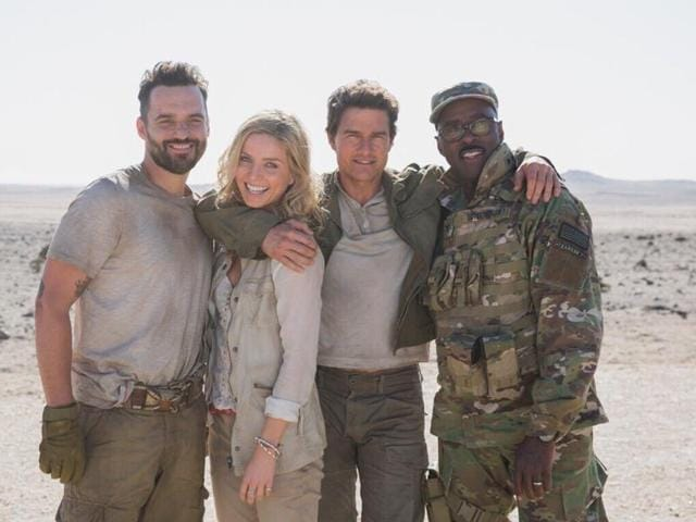 The Mummy cast unites in an appropriately sandy location.