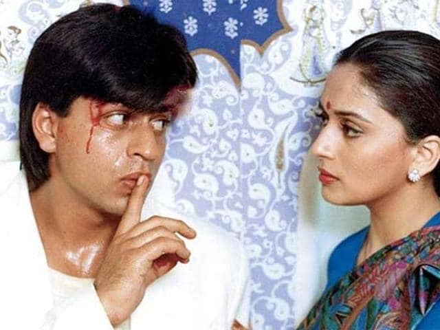 Shah Rukh Khan and Madhuri Dixit in a still from Anjaam.