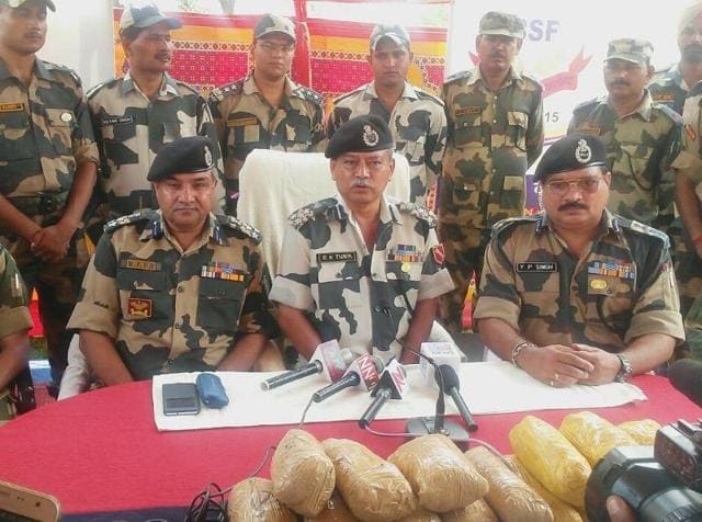 BSF personnel during a press conference after seizing the heroin on Tuesday.