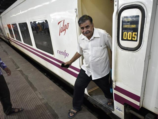 People otside the Spanish Talgo train that arrived in Mumbai Central from Delhi on Tuesday, August 2, 2016. The train traveled the distance in 12.5 hours at 130 km per hour speed during a trial run.