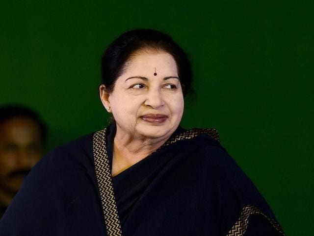 Tamil Nadu chief minister J Jayalalithaa during an event in Chennai.