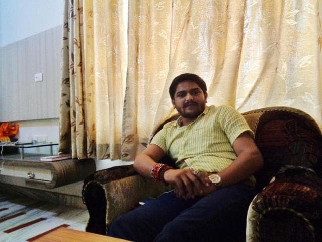 Hardik Patel, the leader of the Patidar movement in Gujarat, interacts with his supporters at a house in Udaipur.