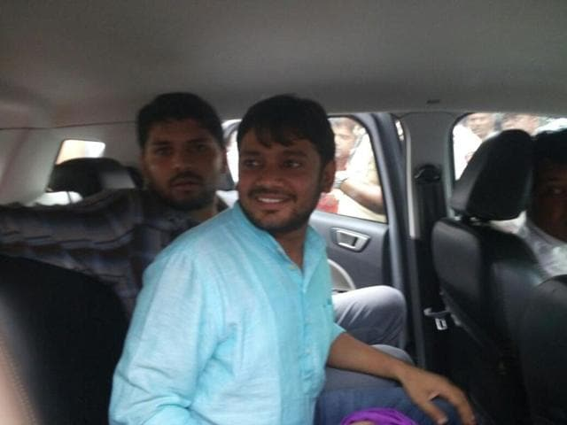 Kanhaiya Kumar outside Vidhan Bhavan after he was denied entry in the Assembly in Mumbai on Tuesday.