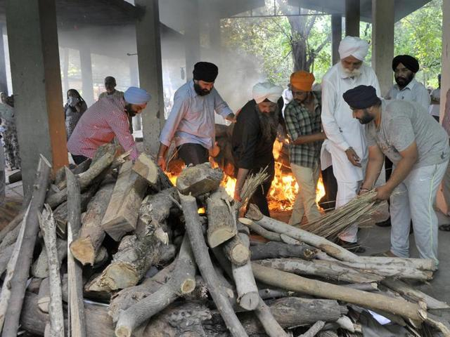Four family members who were killed at BRS Nagar being cremated in Ludhiana on Monday.