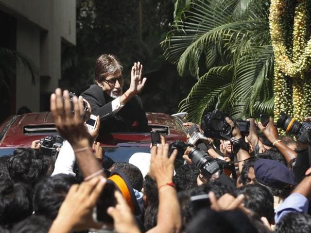 Actor Amitabh Bachchan at his house Jalsa, where a fan broke in on Sunday.