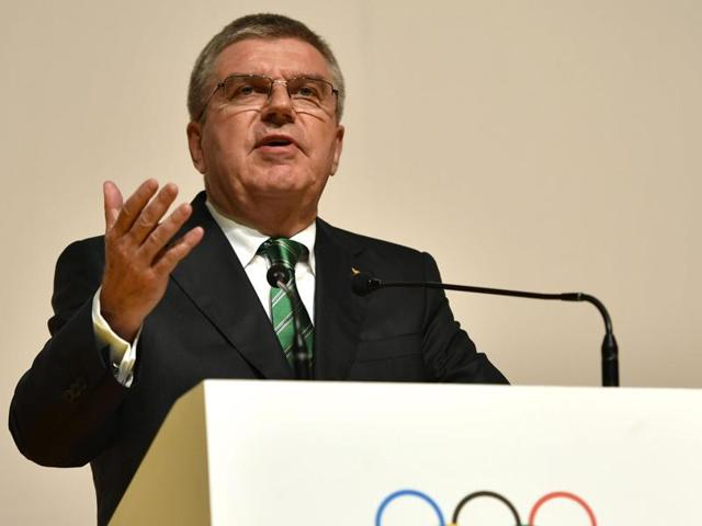 International Olympic Committee (IOC) President Thomas Bach speaks in Rio de Janeiro.
