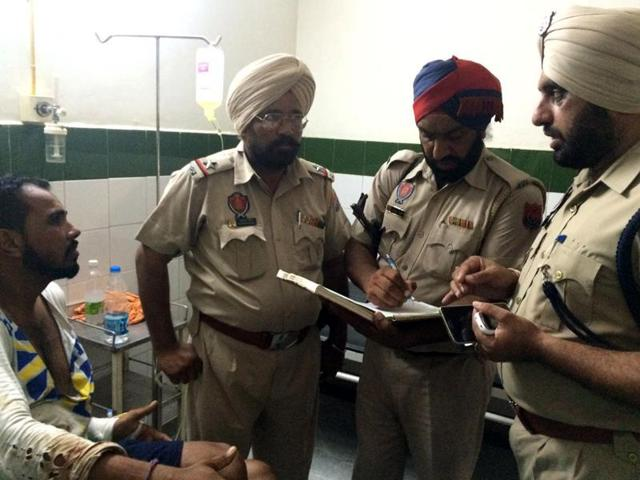 Police recording the victim's statement in Moga on Monday.