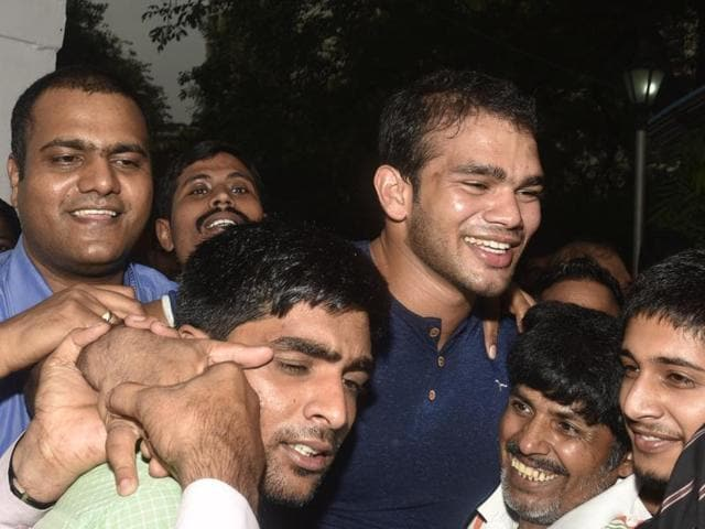 Wrestler Narsingh Yadav comes out of the NADA office, New Delhi, August 1, 2016