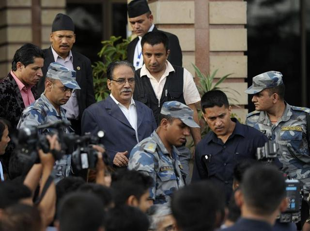 File photo of Maoist chairman Pushpa Kamal Dahal Prachanda leaving the Parliament in Kathmandu last month.