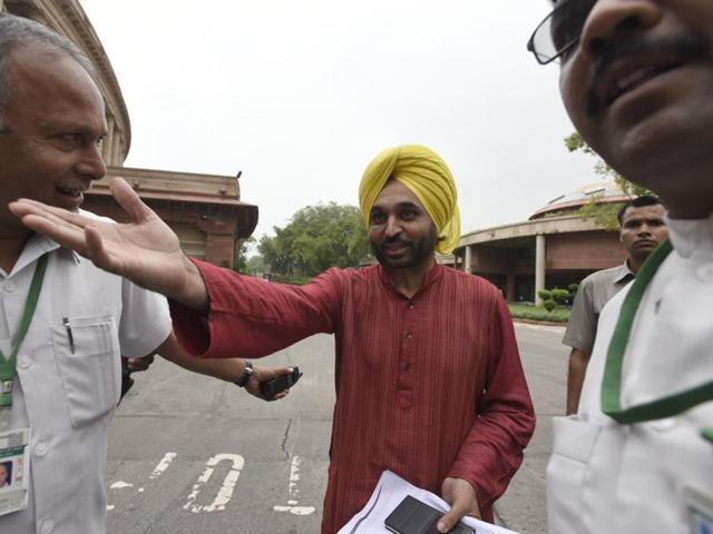 Aam Aadmi Party MP Bhagwant Mann leaves after meeting the Ethics Committee during the monsoon session of Parliament in New Delhi.