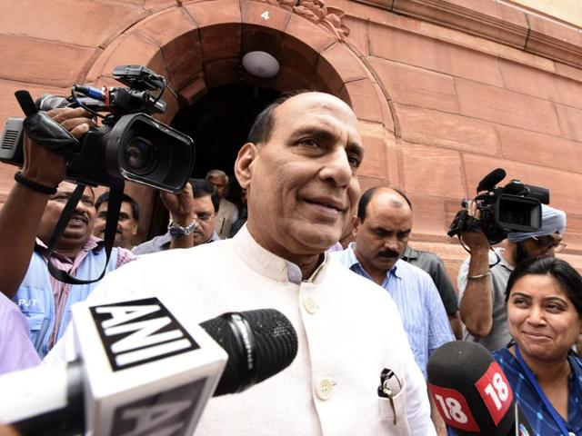Union home minister Rajnath Singh in Parliament.