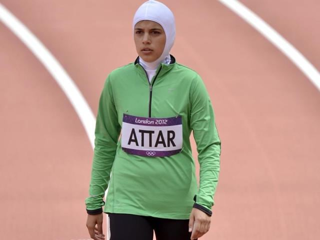 Saudi Arabia's Sarah Attar prepares to compete in a women's 800-metre heat during the athletics in the Olympic Stadium at the 2012 Summer Olympics, London.