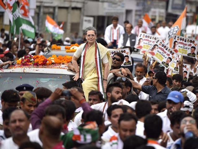 Congress president Sonia Gandhi during a roadshow in Varanasi.