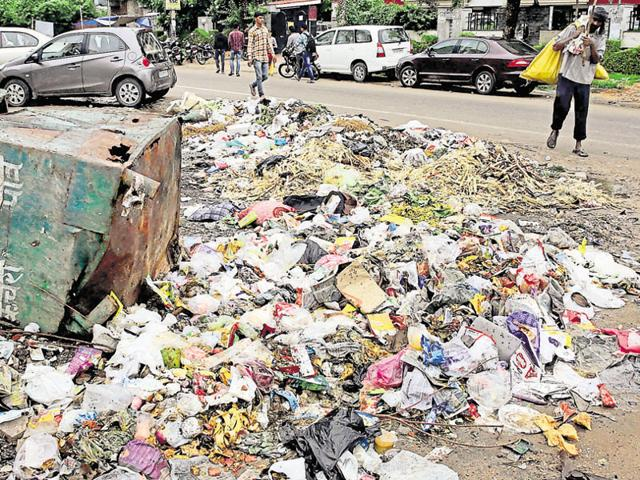 A ragpicker passes by a heap of garbage in Jaipur's Lal Kothi area on Tuesday.