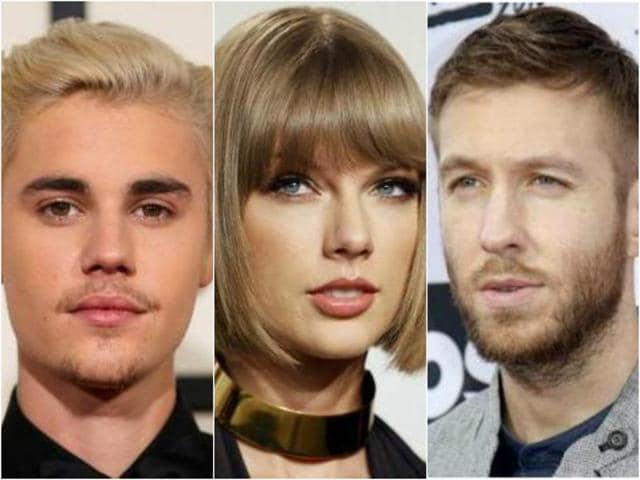Justin Bieber,Taylor Swift,Kanye West