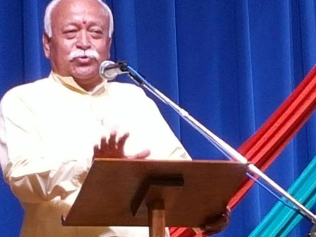 RSS chief Mohan Bhagwat speaking at a seminar in London on Tuesday.