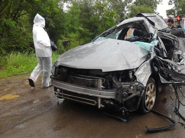 The smashed remains of the car after it met with the accident.